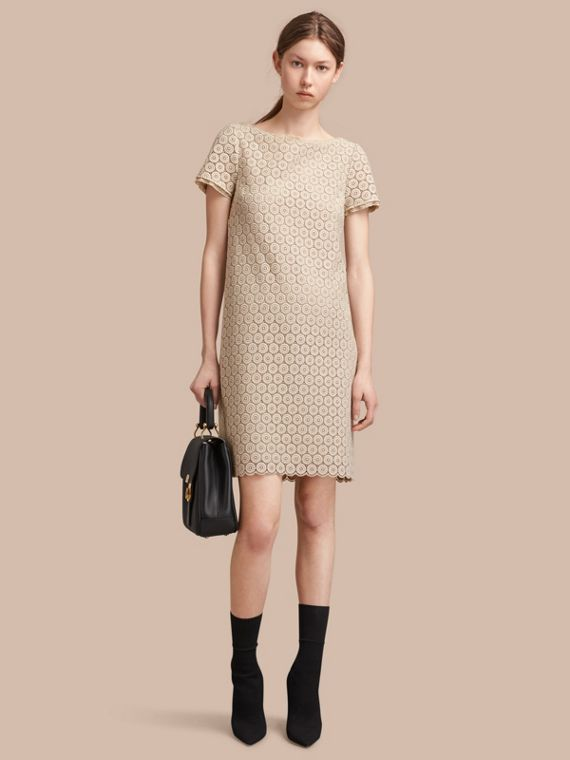 Short-sleeve Geometric Lace Dress in Stone