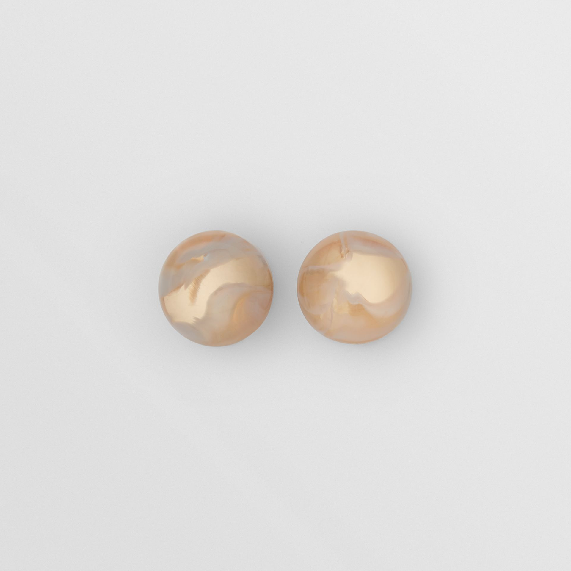 Marbled Resin Gold-plated Sphere Earrings in Light - Women | Burberry - gallery image 0