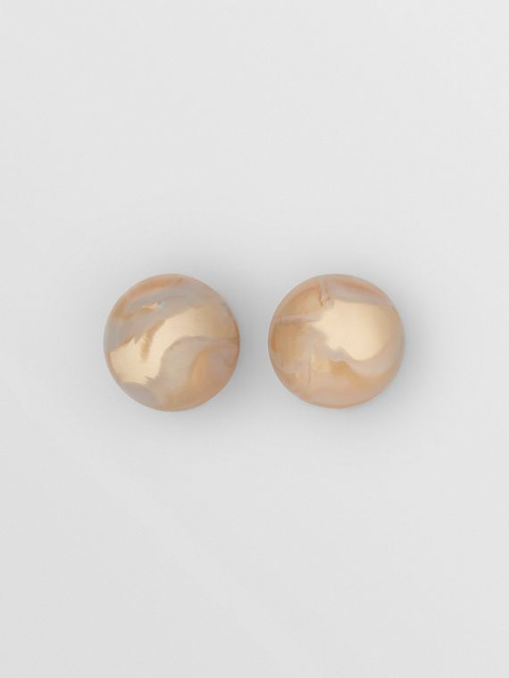 Marbled Resin Gold-plated Sphere Earrings in Light