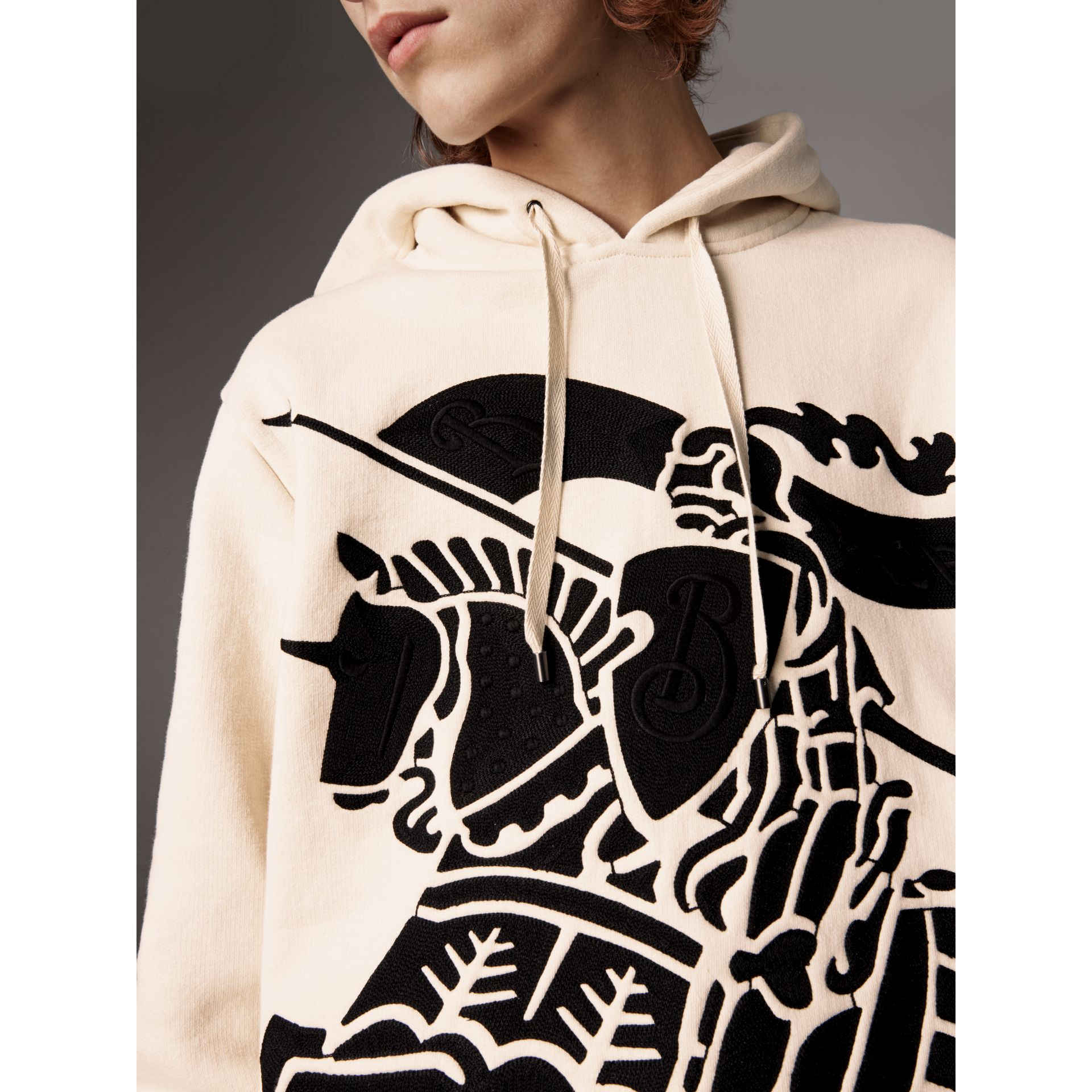 Equestrian Knight Device Cotton Hooded Sweatshirt in Natural White - Men | Burberry United States - gallery image 2