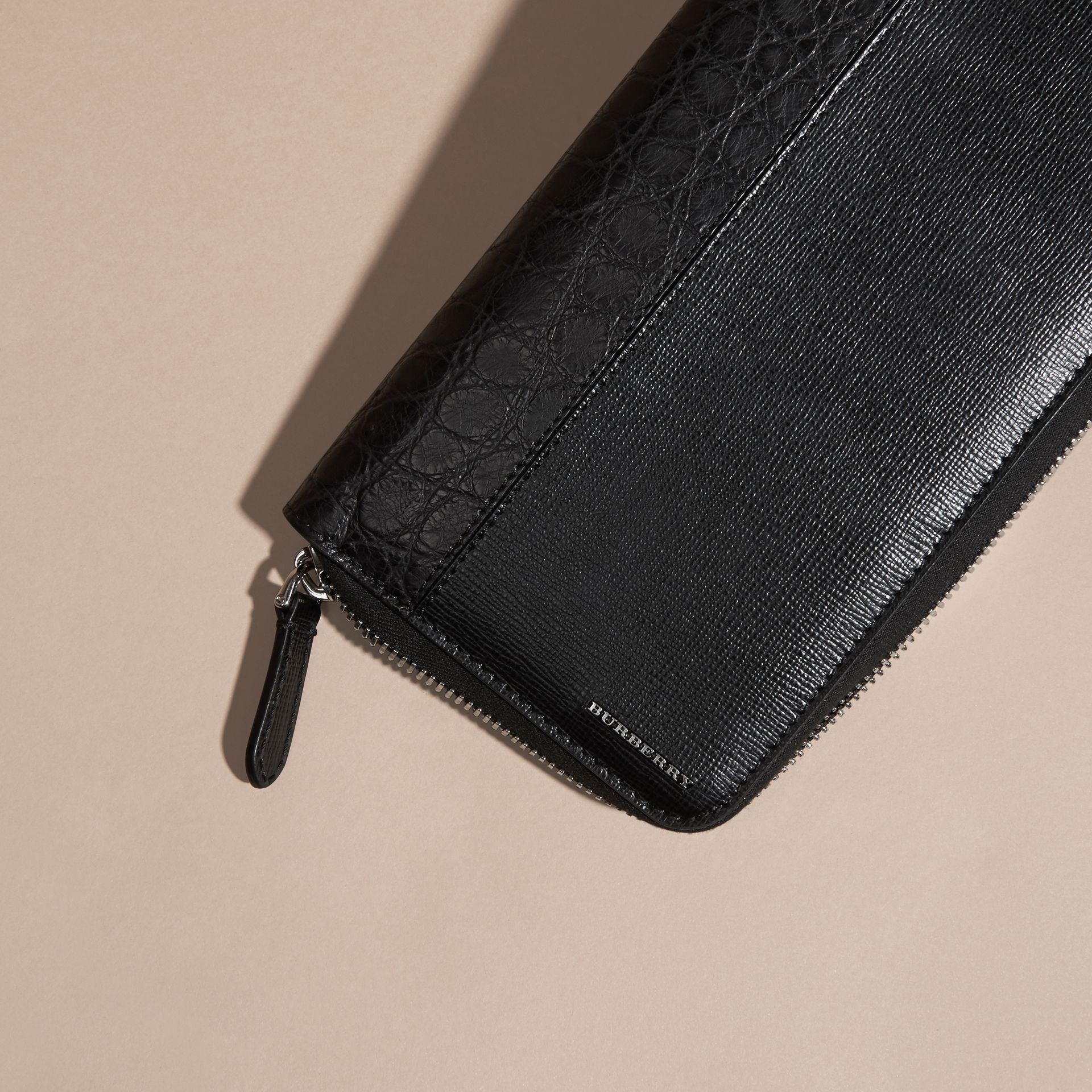 London Leather and Alligator Ziparound Wallet in Black - Men | Burberry - gallery image 2