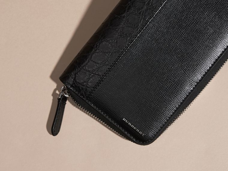 London Leather and Alligator Ziparound Wallet in Black - Men | Burberry Singapore - cell image 1