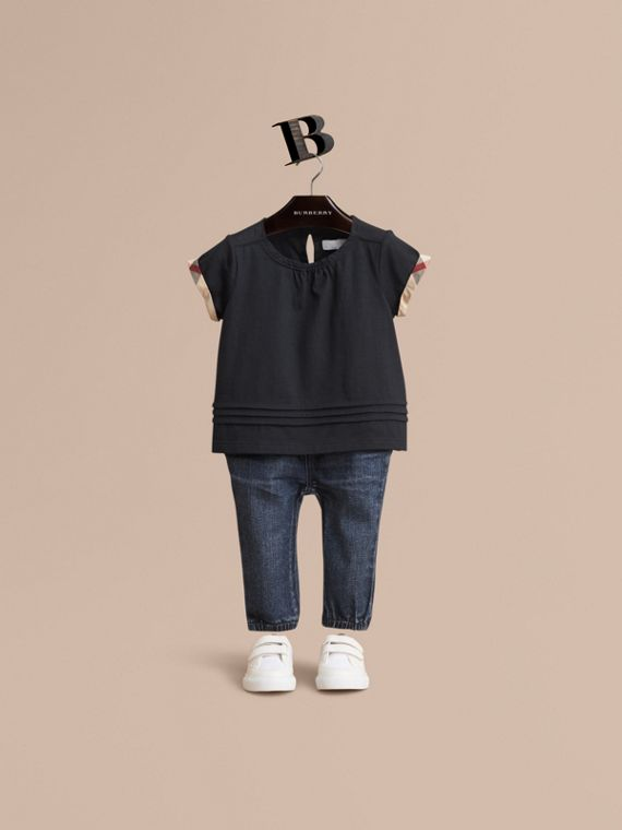 Pleat and Check Detail Cotton T-shirt in Navy