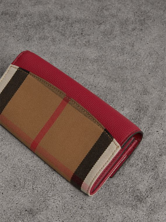 House Check And Leather Continental Wallet in Military Red - Women | Burberry - cell image 2