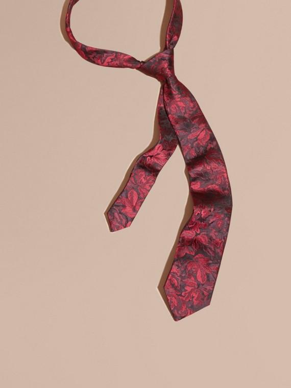 Modern Cut Floral Jacquard Silk Tie Deep Claret