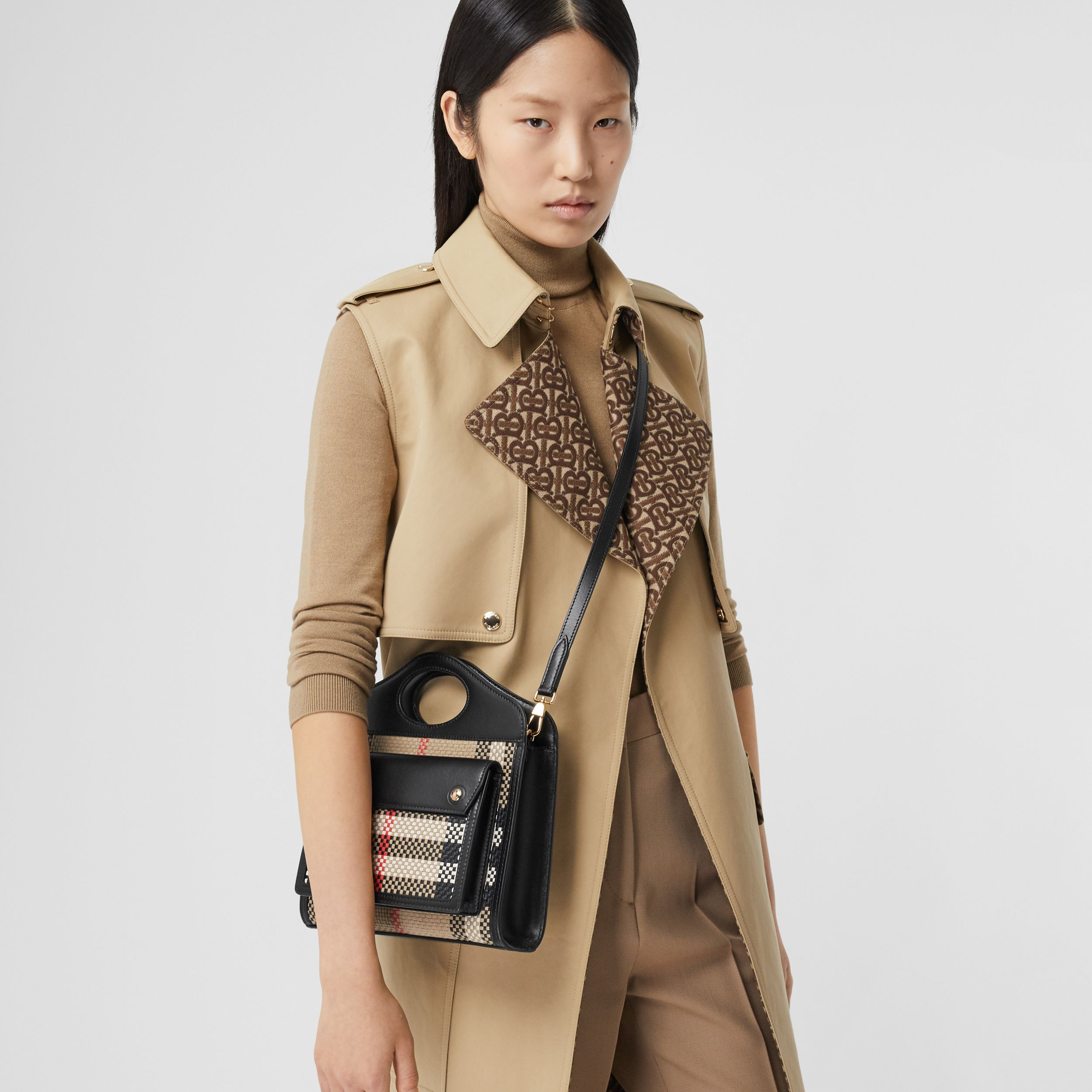 Mini Latticed Leather Pocket Bag in Archive Beige/black - Women | Burberry Hong Kong S.A.R. - 3