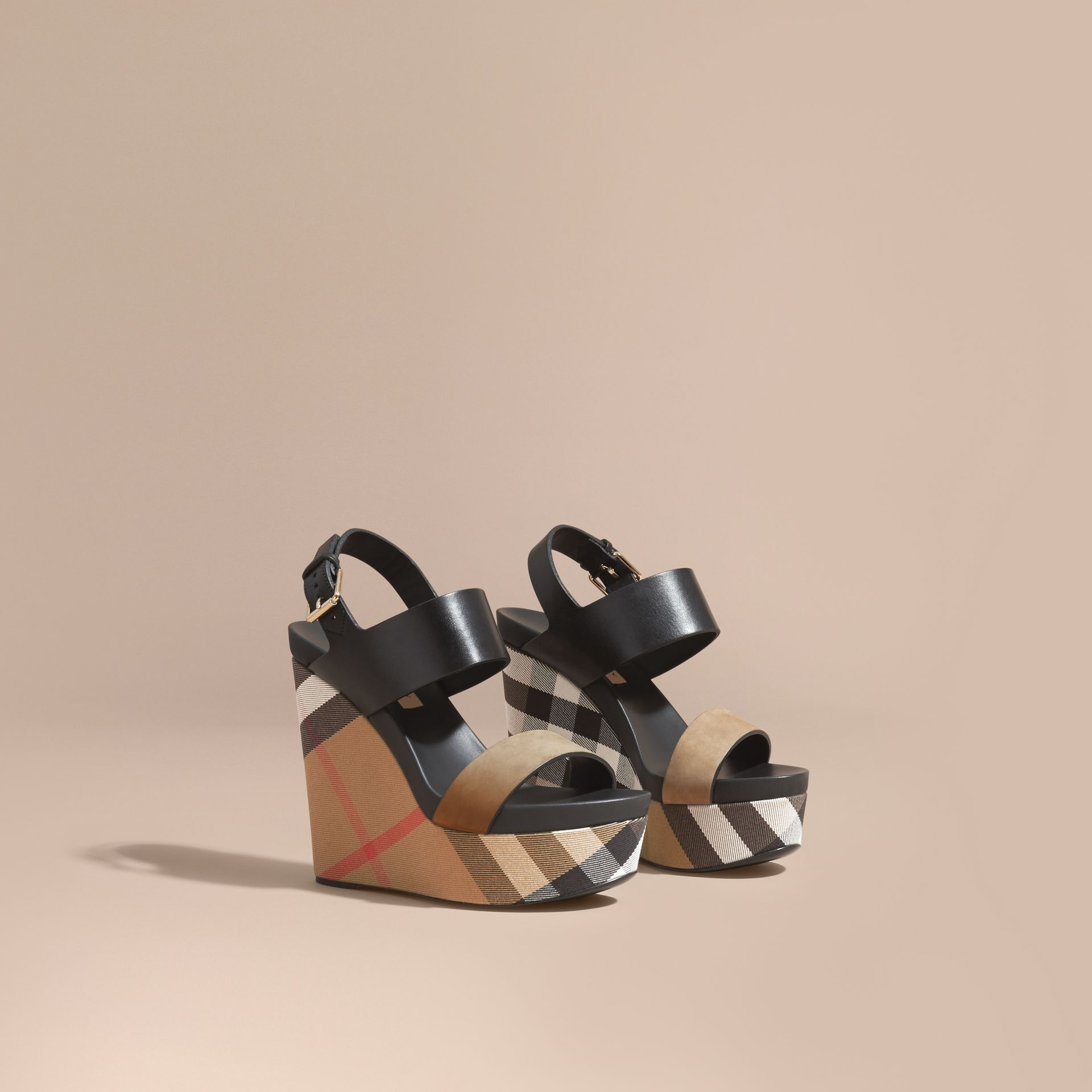 House Check Leather and Calf Suede Platform Wedges in Dark Heather Melange - Women | Burberry - gallery image 1