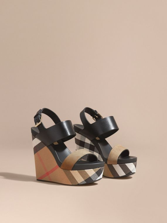 House Check Leather and Calf Suede Platform Wedges