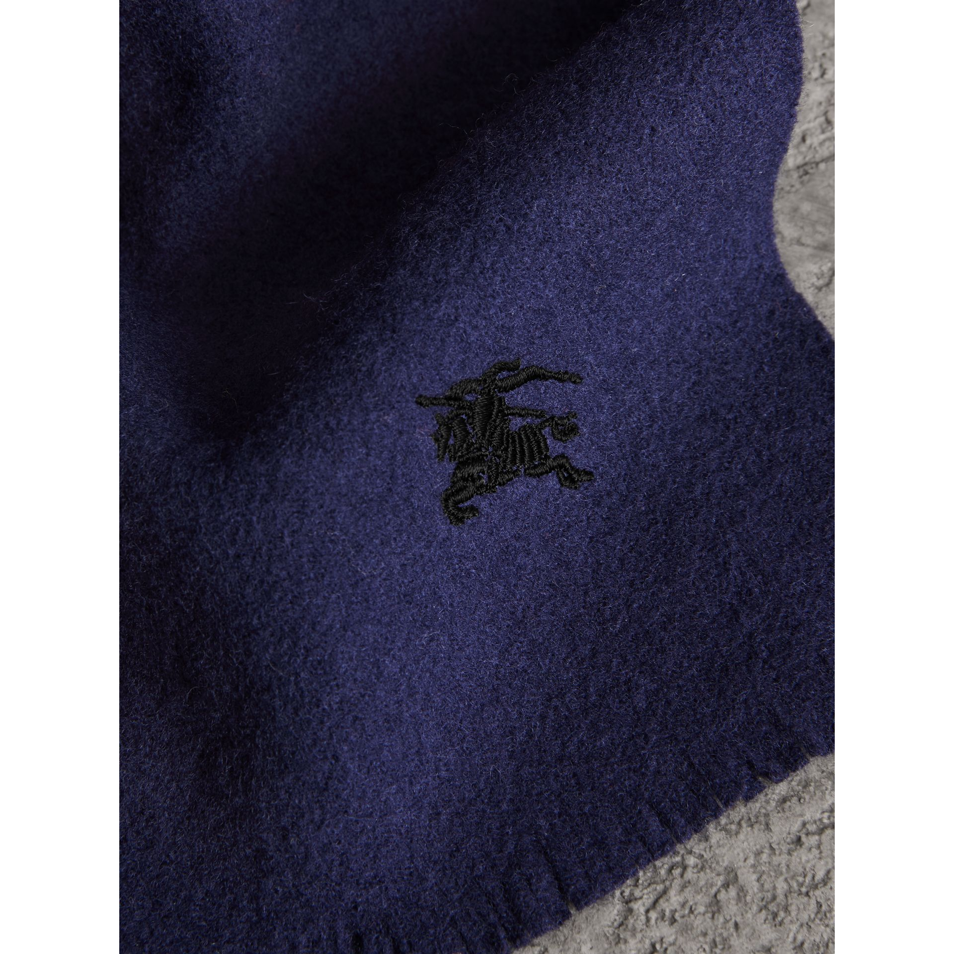 Embroidered Felted Wool Scarf in Navy | Burberry United Kingdom - gallery image 1