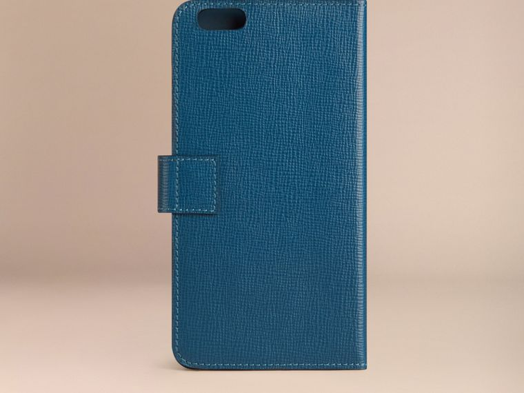 Mineral blue London Leather iPhone 6 Plus Flip Case Mineral Blue - cell image 2