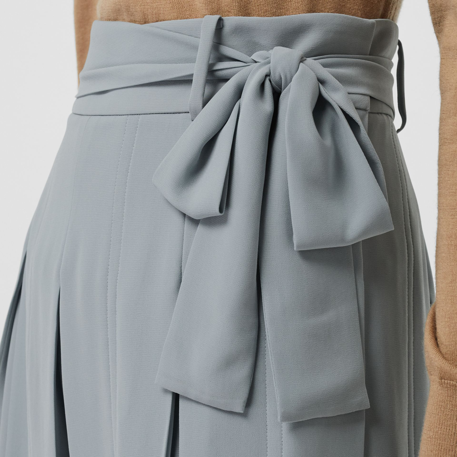 Tie-waist Pleated Georgette Skirt in Dusty Blue - Women | Burberry - gallery image 1
