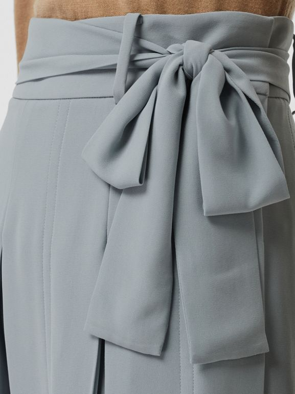 Tie-waist Pleated Georgette Skirt in Dusty Blue - Women | Burberry - cell image 1