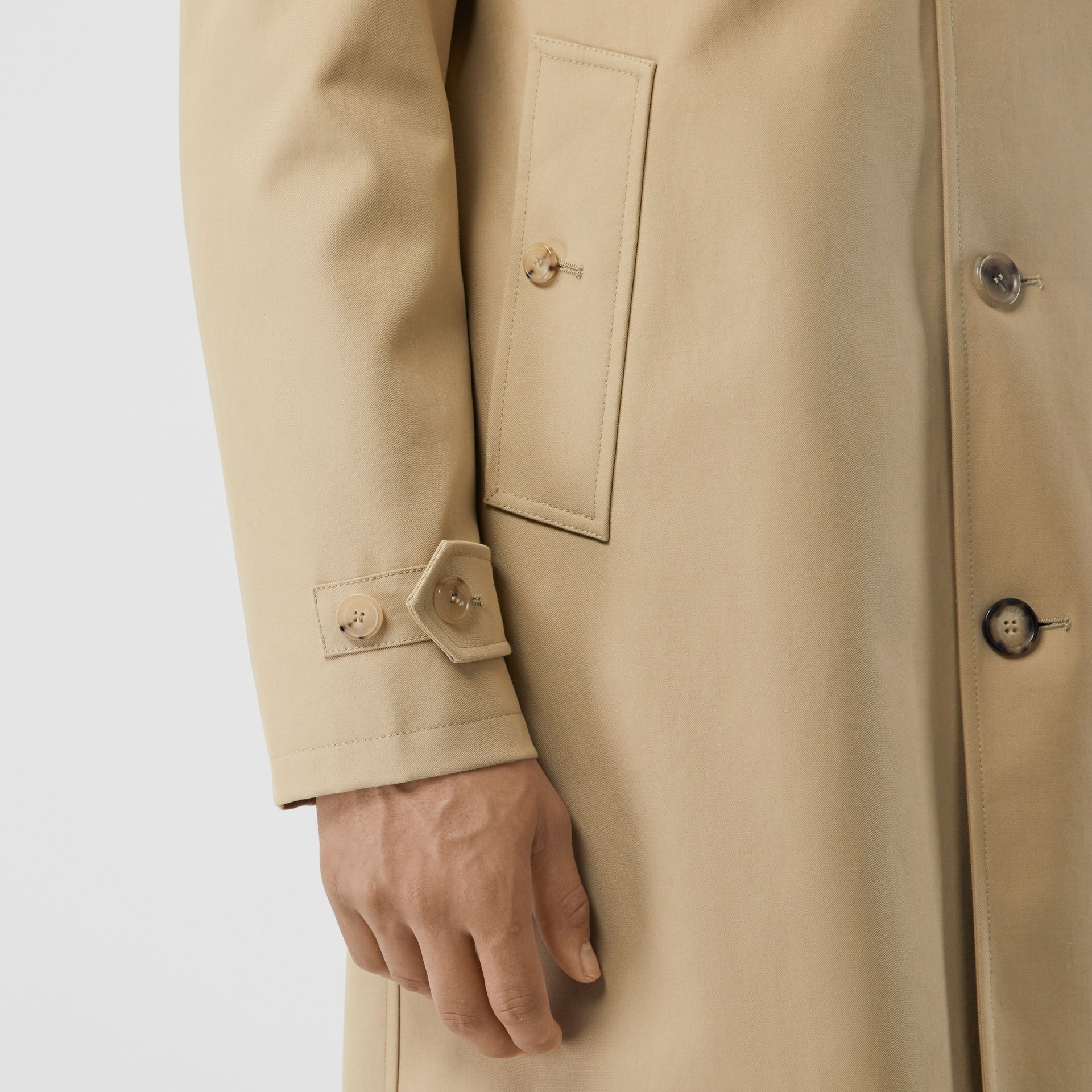 Cotton Gabardine Coat with Detachable Warmer in Honey - Men | Burberry - gallery image 4
