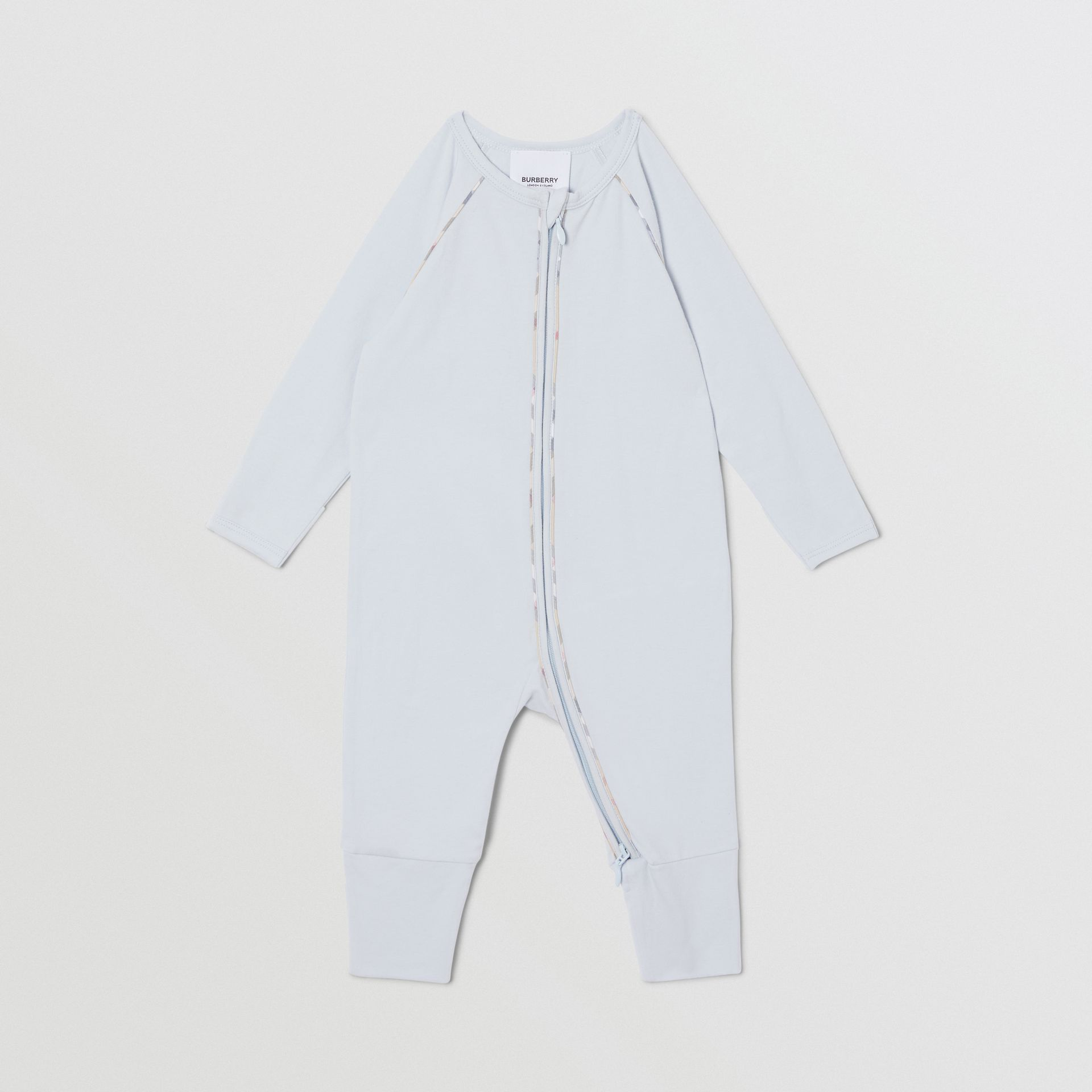 Check Trim Stretch Cotton Three-piece Baby Gift Set in Pale Blue - Children | Burberry Singapore - gallery image 3