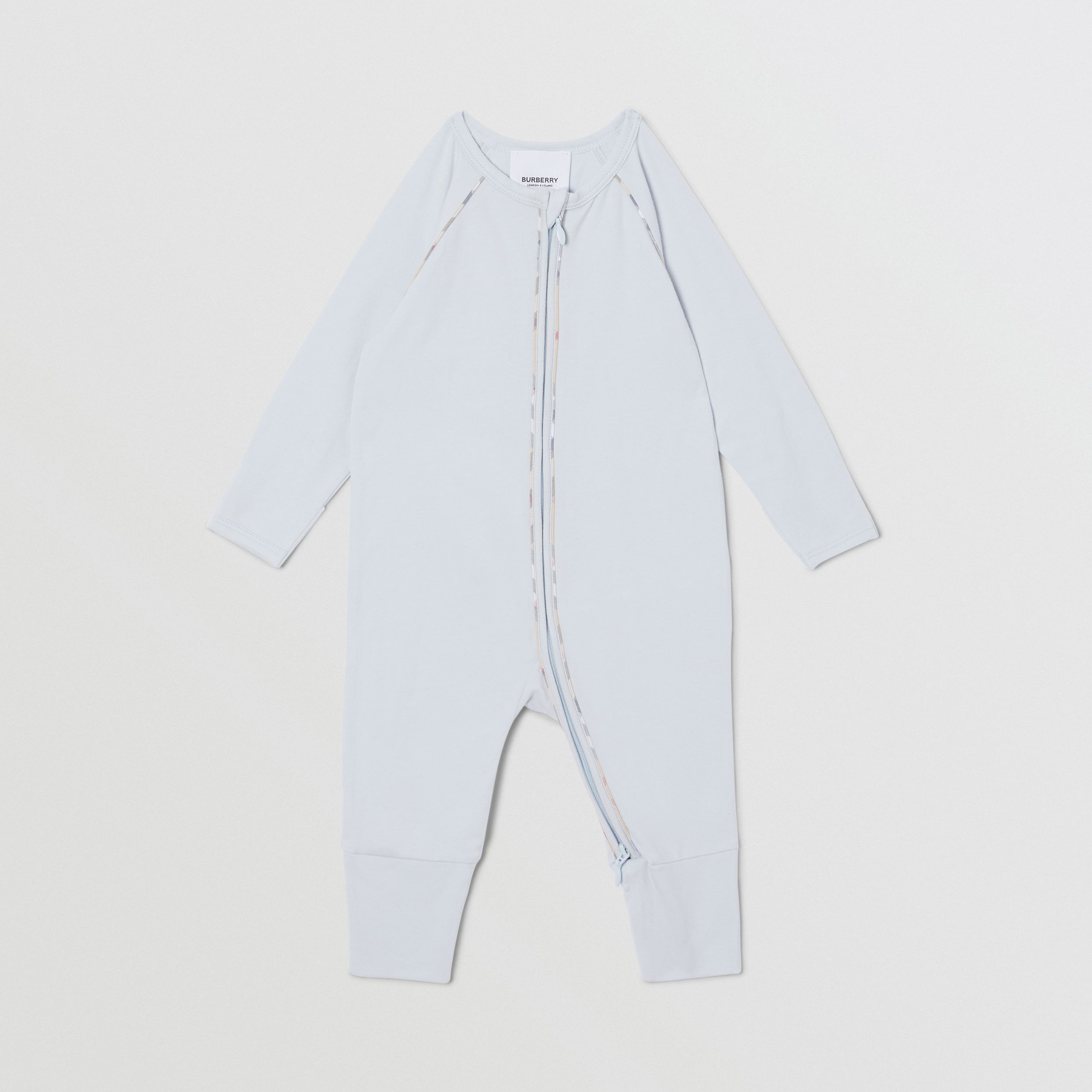 Check Trim Stretch Cotton Three-piece Baby Gift Set in Pale Blue - Children | Burberry - 4