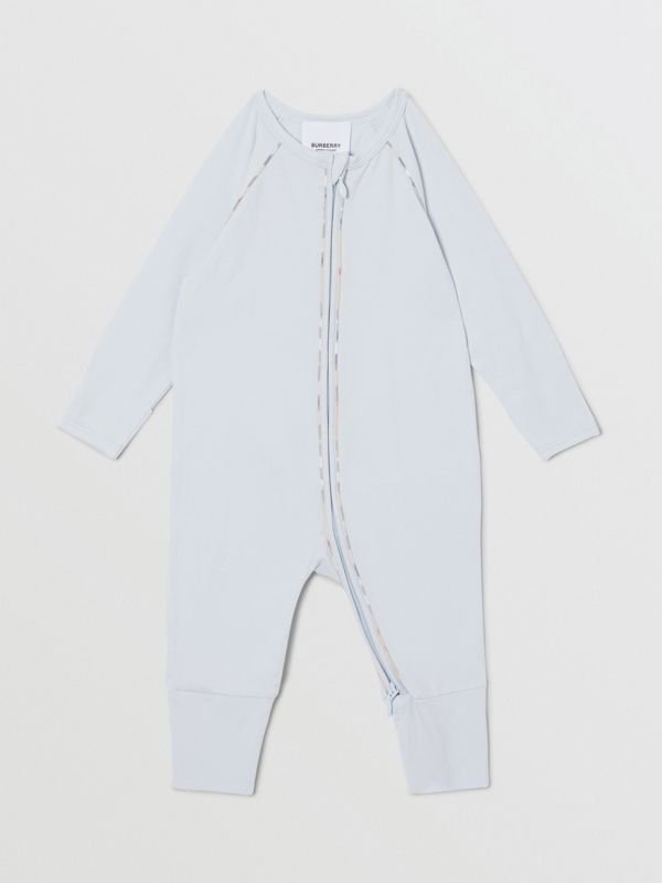 Check Trim Stretch Cotton Three-piece Baby Gift Set in Pale Blue - Children | Burberry Singapore - cell image 3