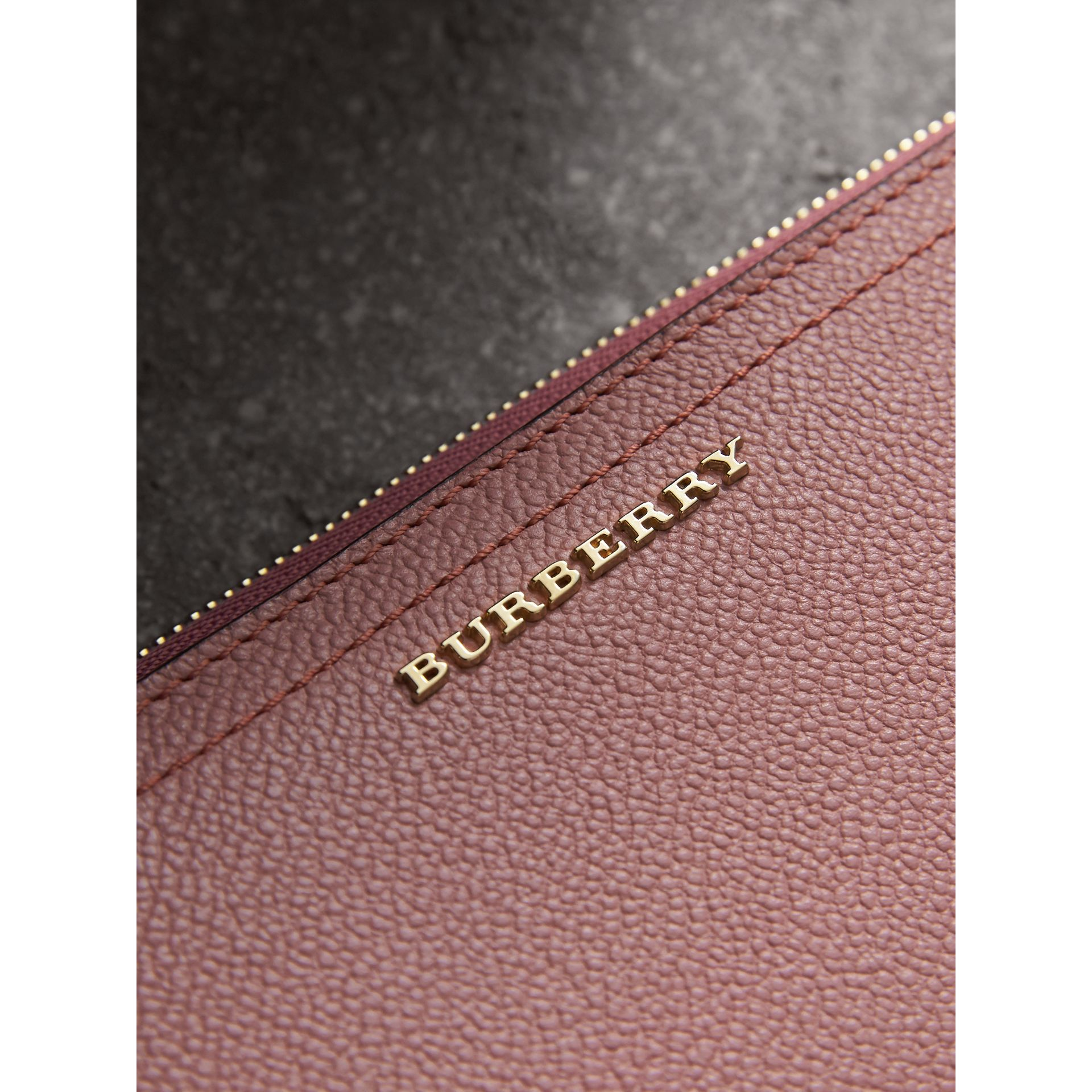 Grainy Leather Ziparound Wallet in Dusty Pink - Women | Burberry - gallery image 1