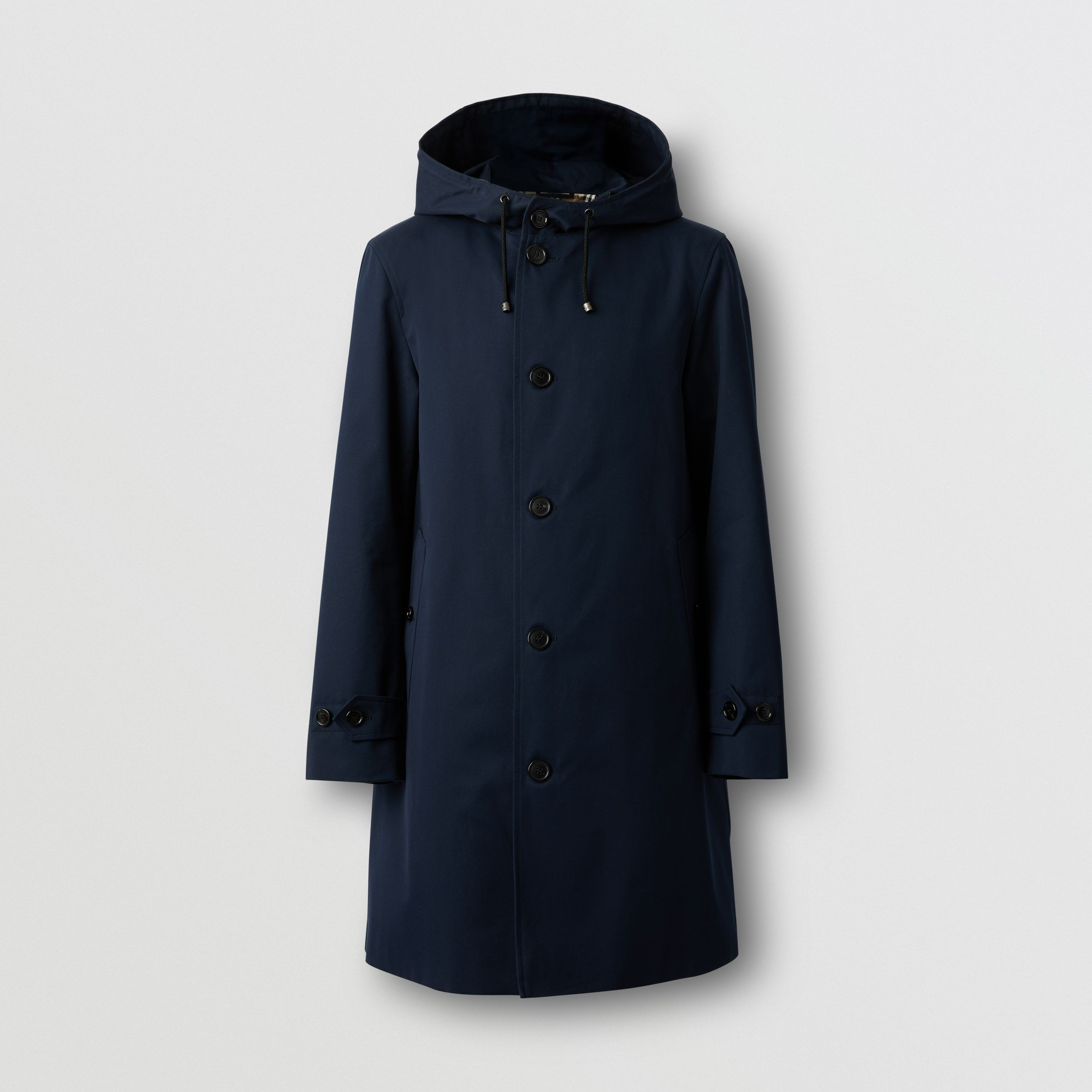 Cotton Gabardine Hooded Coat in Midnight - Men | Burberry - 4