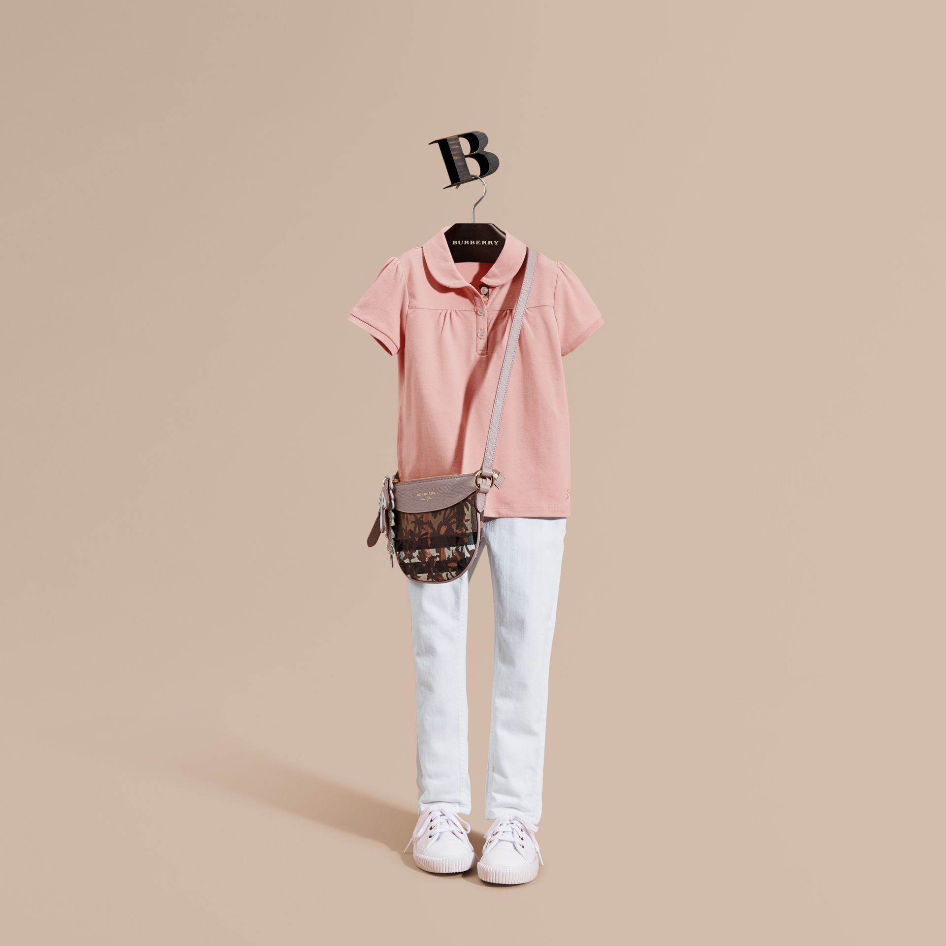 Ruched Detail Stretch Cotton Polo Shirt Ash Rose - gallery image 1