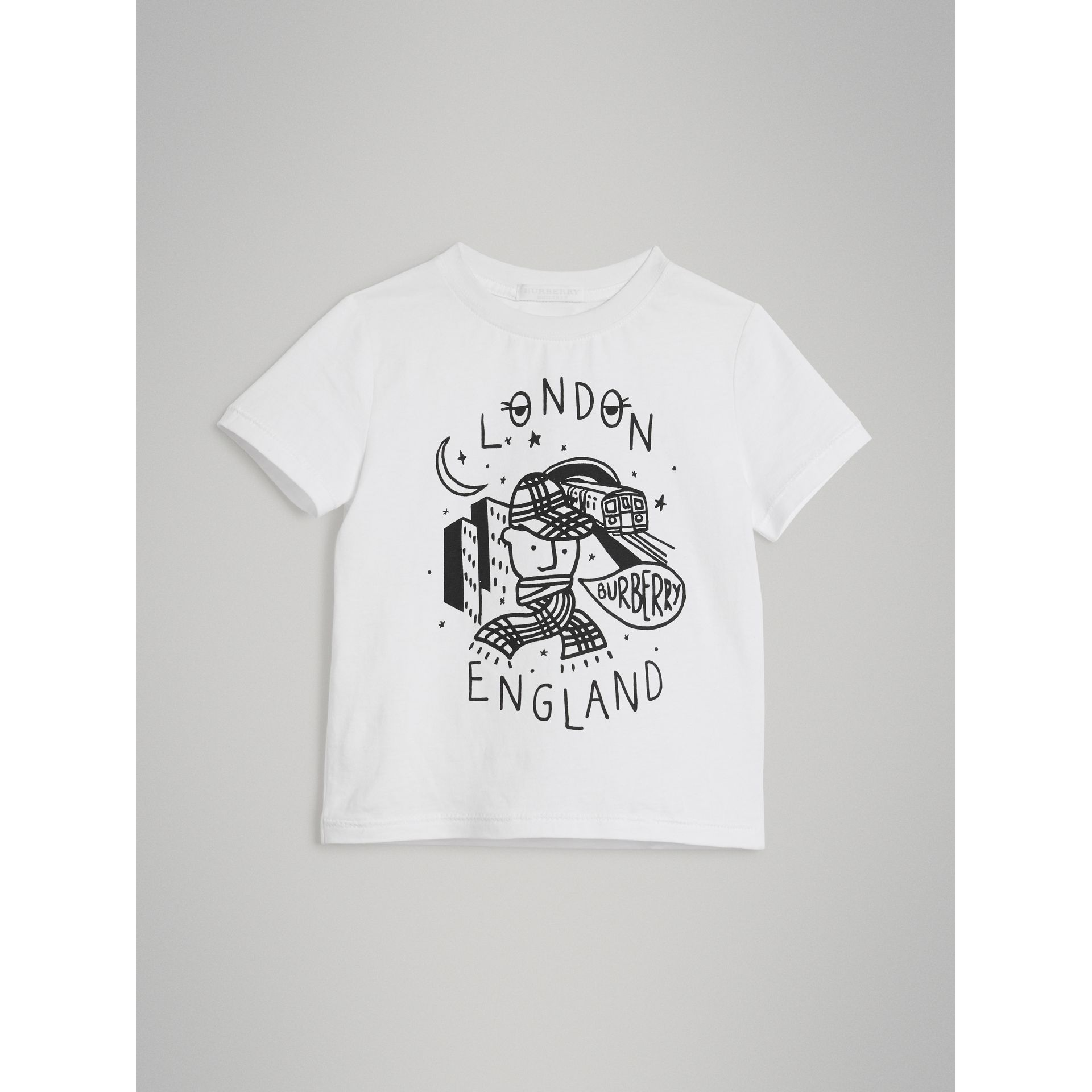 Night Print Cotton T-shirt in White - Boy | Burberry - gallery image 0