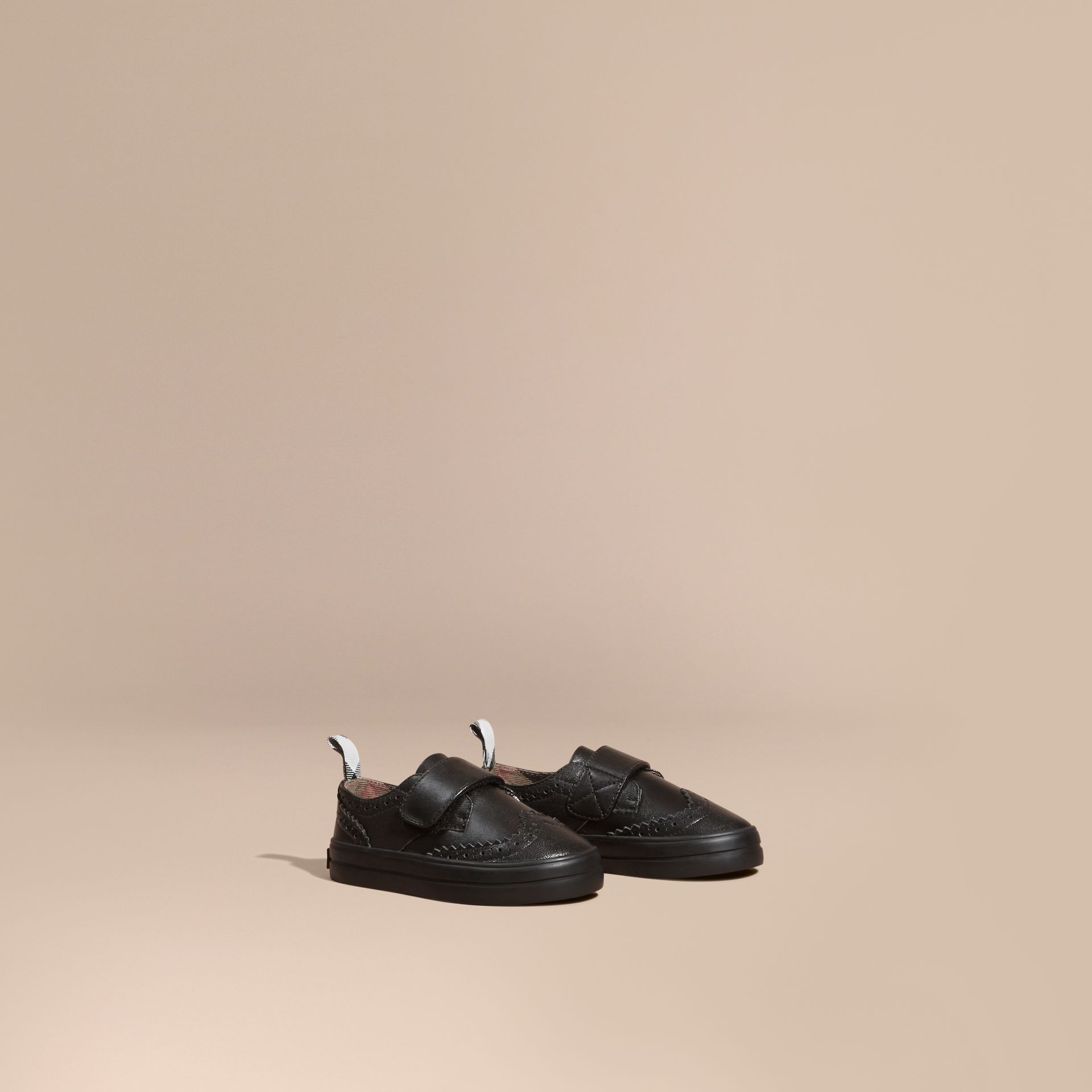 Black Brogue Detail Leather Trainers - gallery image 1