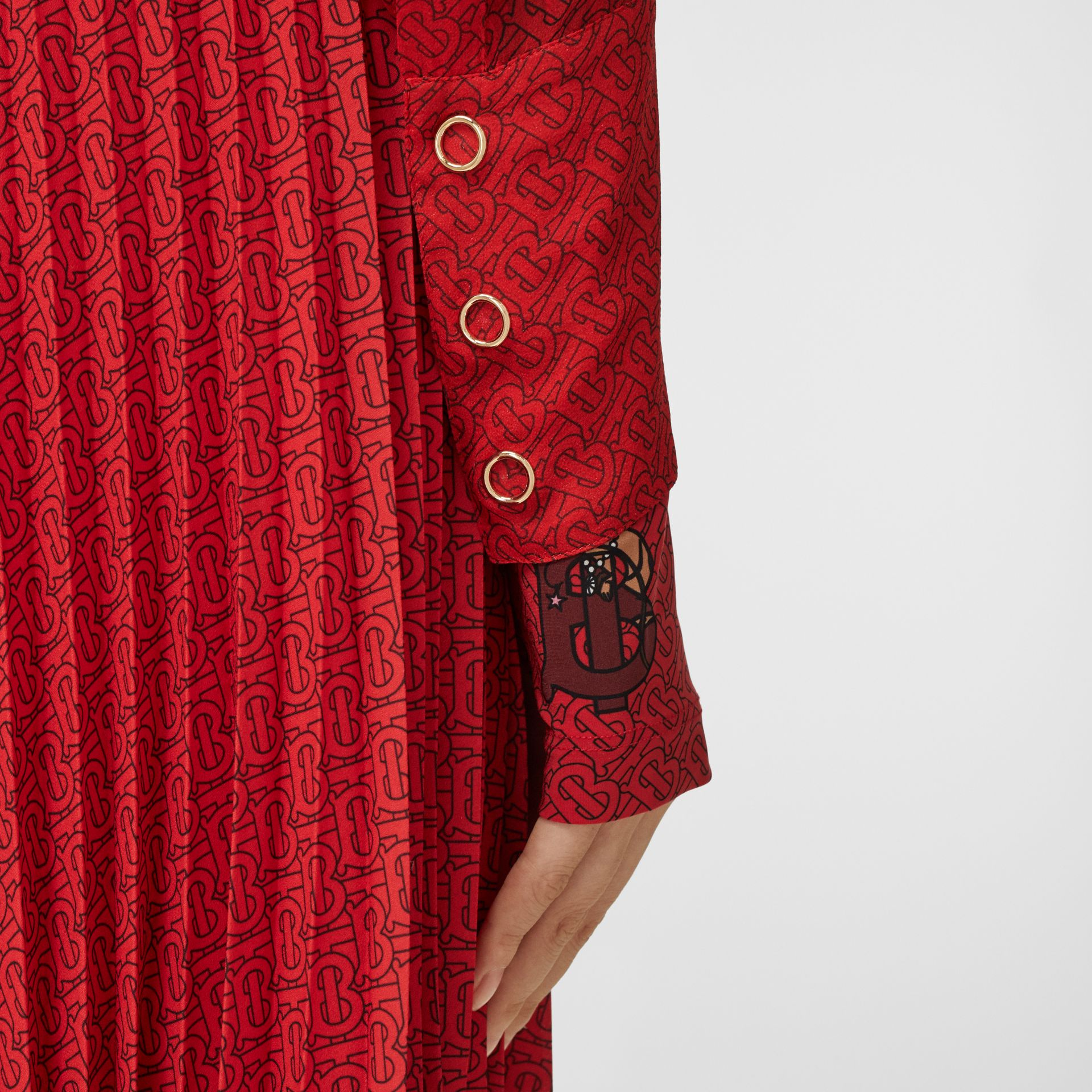 Monogram Print Silk Chiffon Pussy-bow Blouse in Bright Red - Women | Burberry Hong Kong S.A.R - gallery image 4