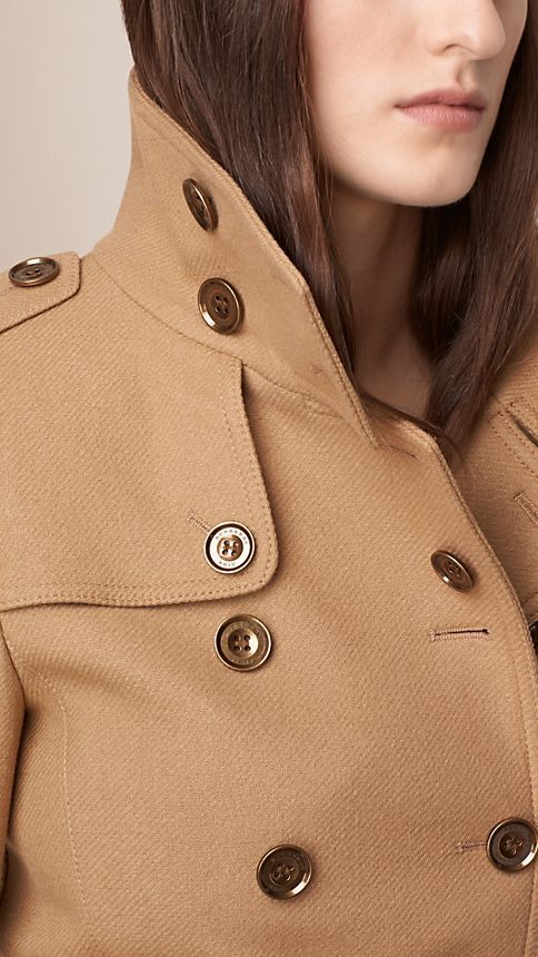 Camel Short Double Wool Twill Trench Coat - Image 4