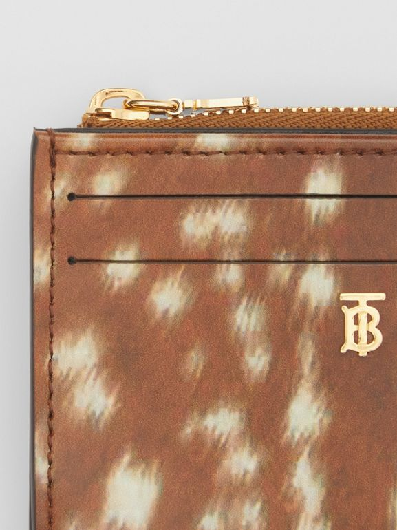 Deer Print Leather Zip Card Case in Malt Brown - Women | Burberry - cell image 1