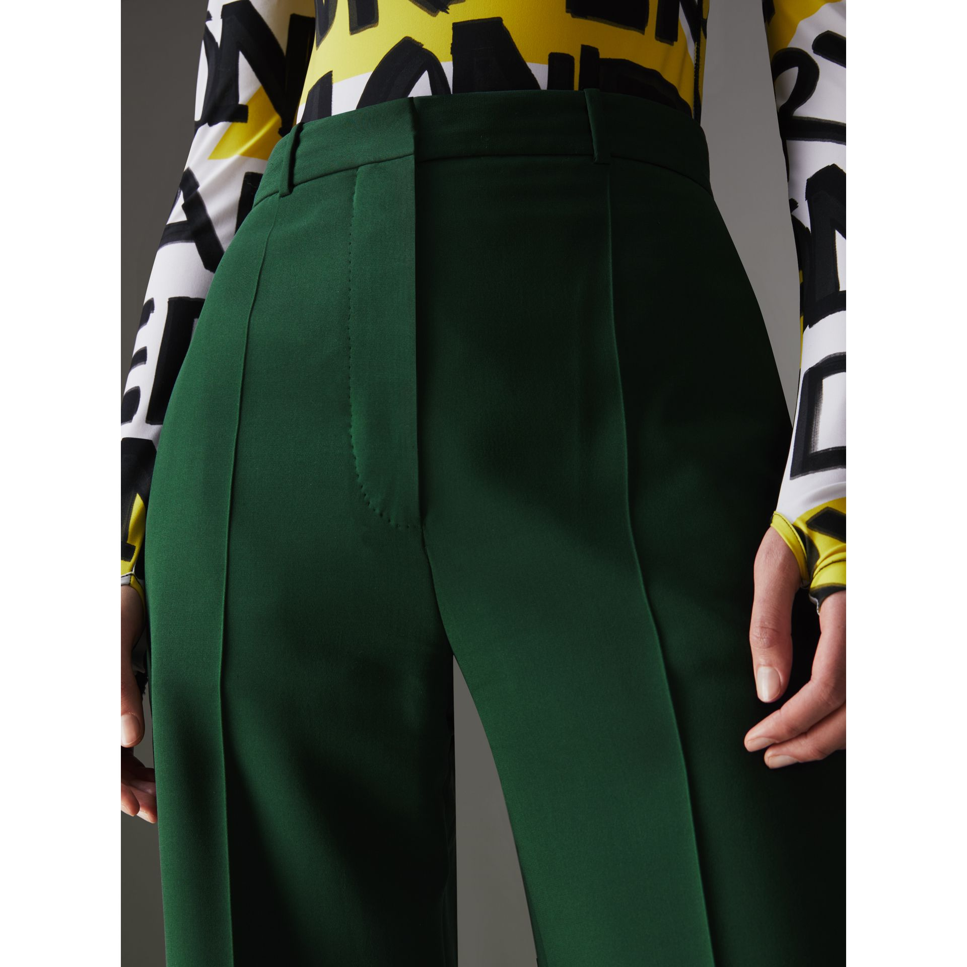 Silk Wool High-waisted Trousers in Dark Forest Green - Women | Burberry United States - gallery image 1