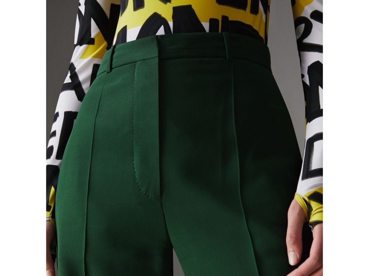 Silk Wool High-waisted Trousers in Dark Forest Green - Women | Burberry United States - cell image 1