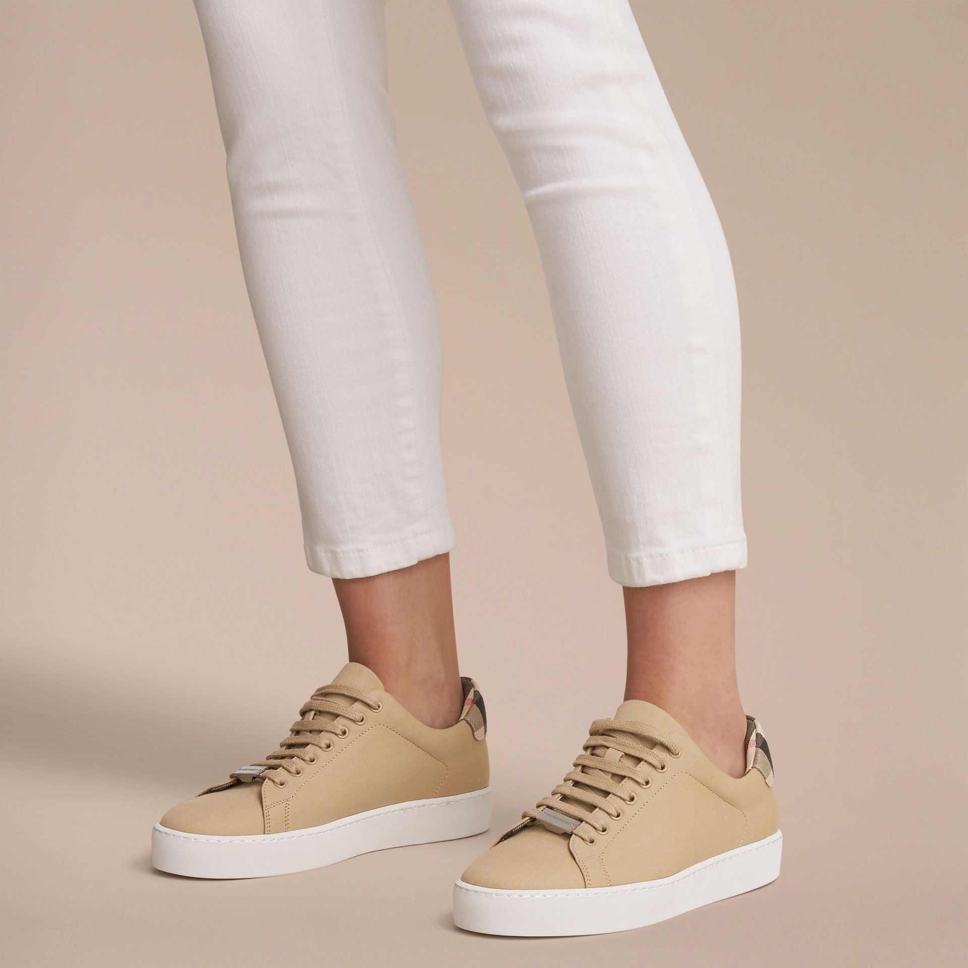 Check Detail Cotton Trainers in Honey - Women | Burberry - gallery image 3