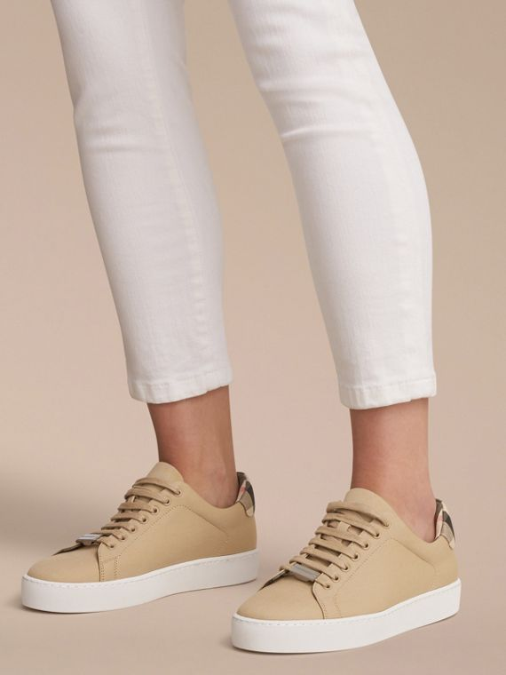 Check Detail Cotton Trainers in Honey - Women | Burberry - cell image 2