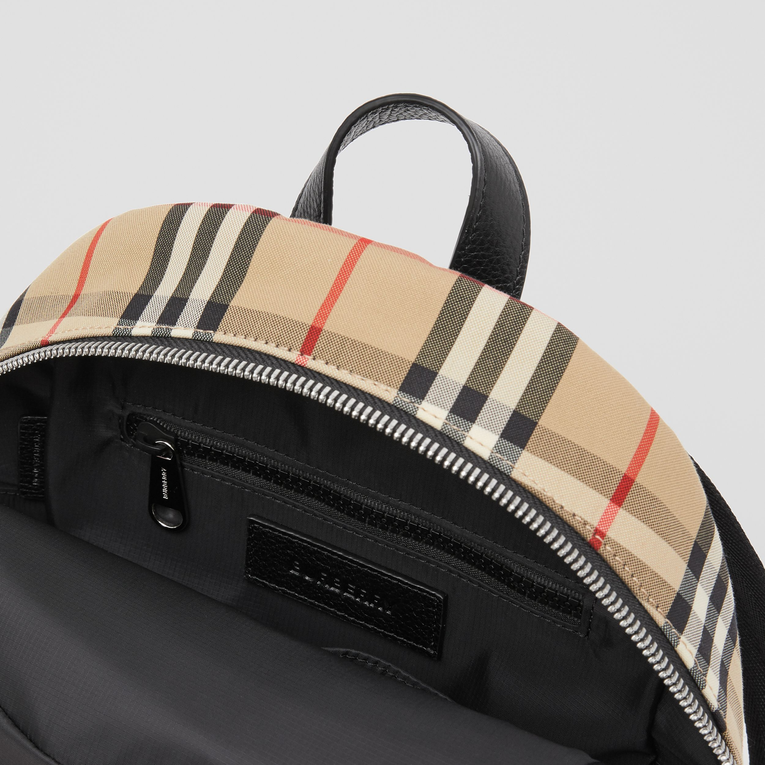 Logo Appliqué Vintage Check Backpack in Archive Beige - Children | Burberry - 4
