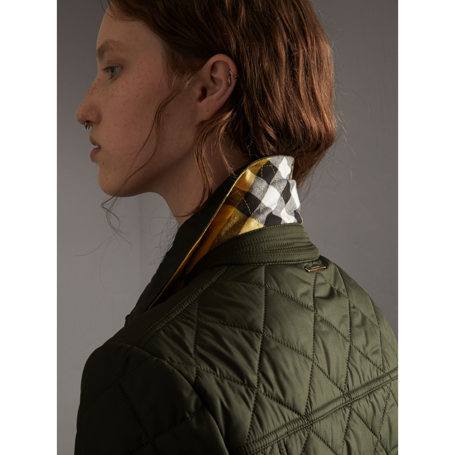 Check Detail Diamond Quilted Jacket in Military Green - Women | Burberry Canada - gallery image 6