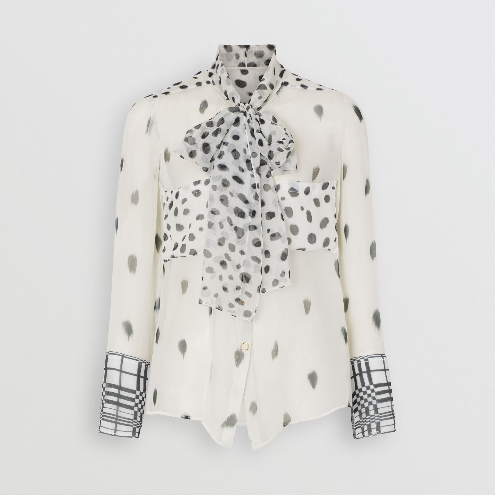 Dalmatian Print Silk Pussy-bow Blouse in Black/white - Women | Burberry - gallery image 3