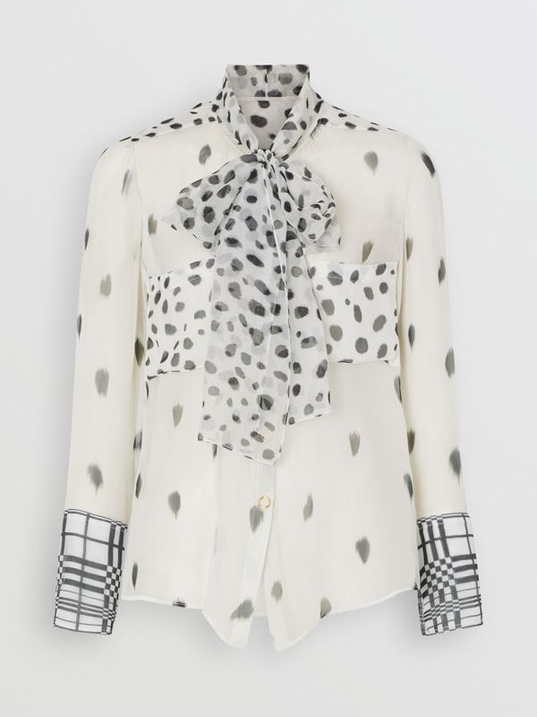 Dalmatian Print Silk Pussy-bow Blouse in Black/white - Women | Burberry United Kingdom - cell image 3