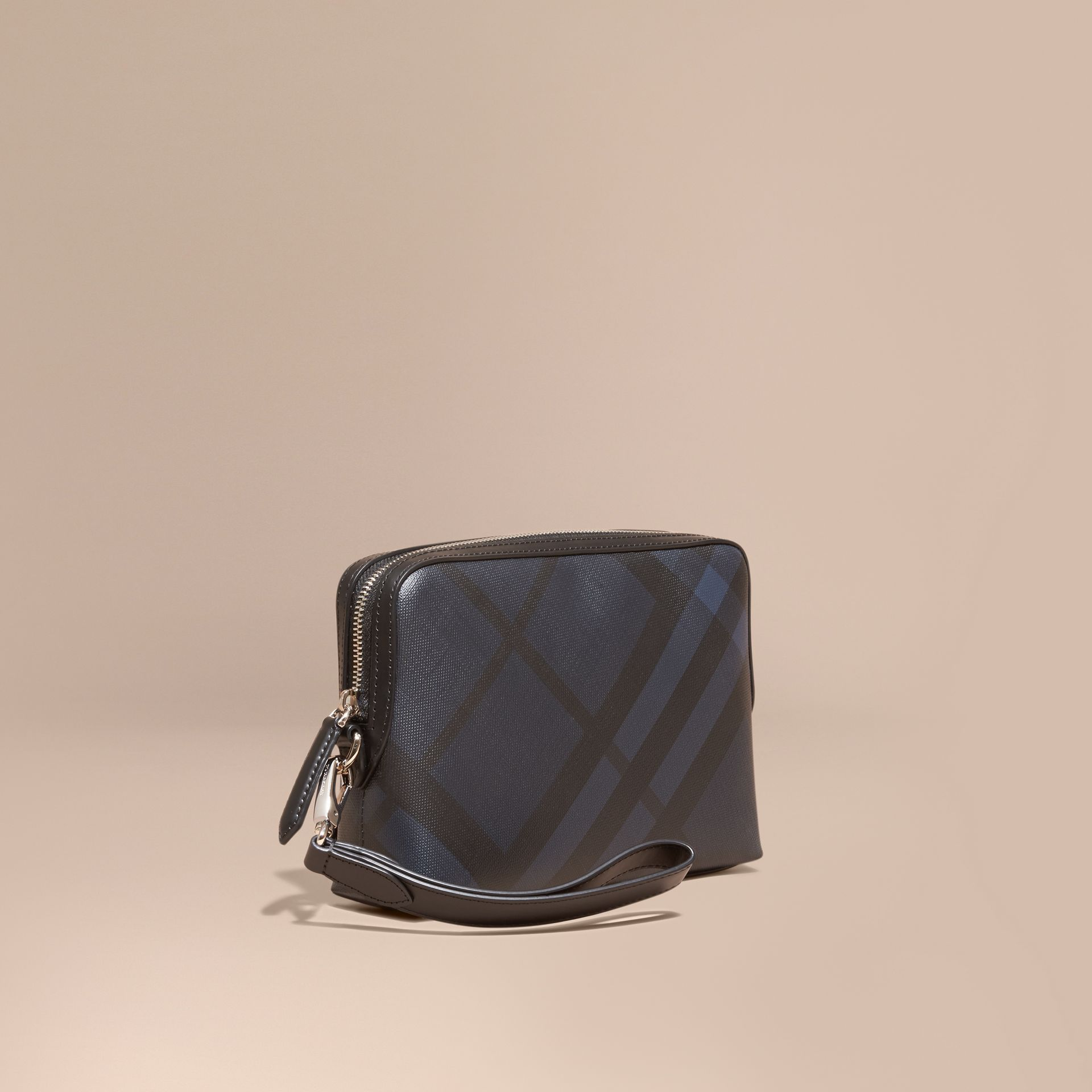 Leather-trimmed London Check Pouch Navy/black - gallery image 1