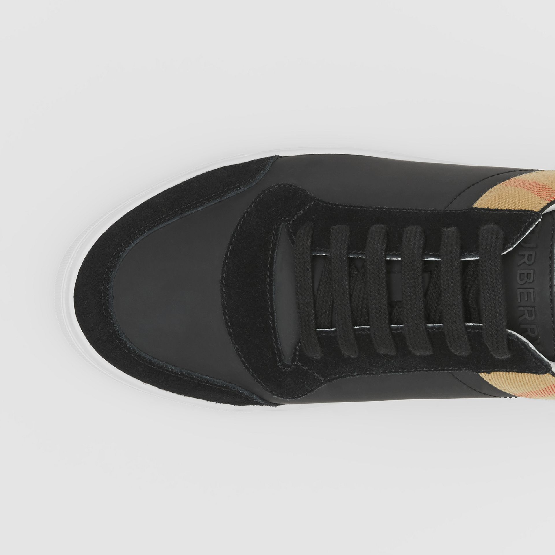 Leather, Suede and House Check Sneakers in Black - Men | Burberry United States - gallery image 1