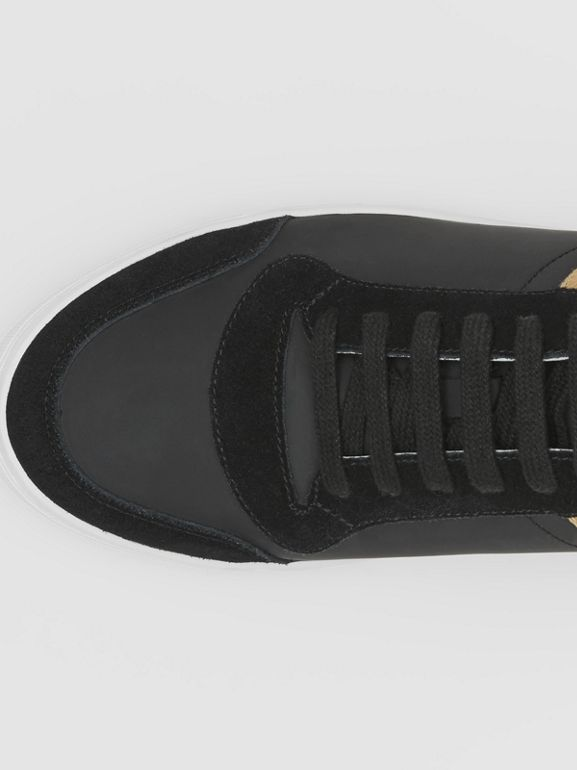 Leather, Suede and House Check Sneakers in Black - Men | Burberry United States - cell image 1