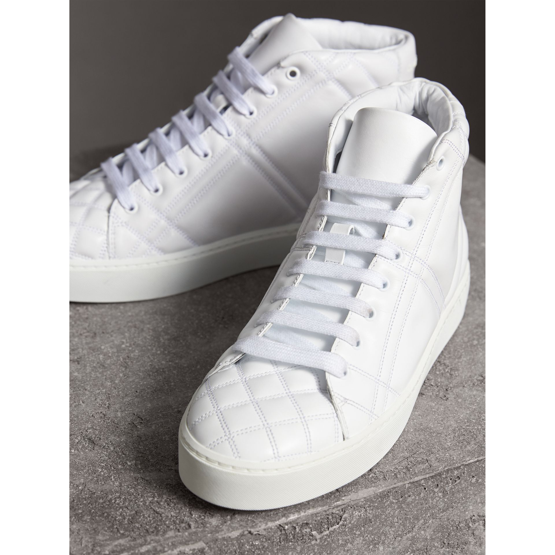 Check-quilted Leather High-top Trainers in Optic White - Women | Burberry Canada - gallery image 5