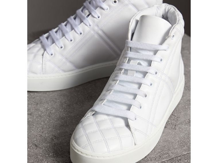 Check-quilted Leather High-top Trainers in Optic White - Women | Burberry - cell image 4