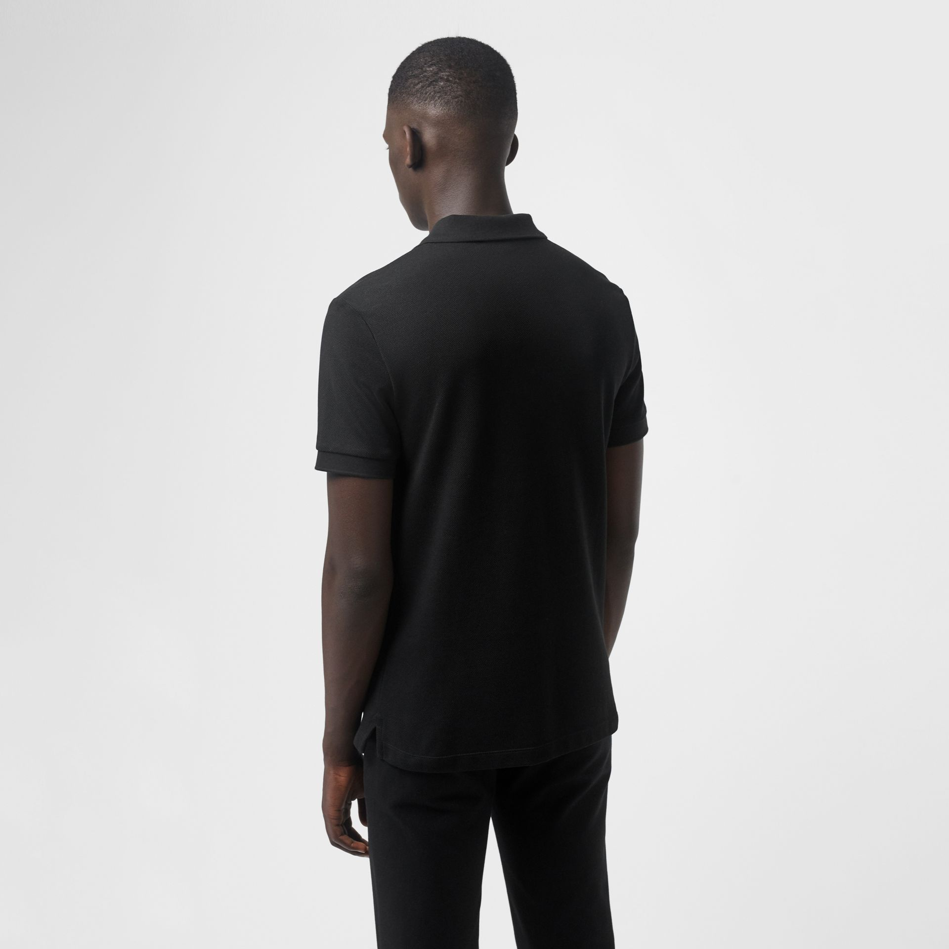 Check Placket Cotton Polo Shirt in Black - Men | Burberry Singapore - gallery image 2