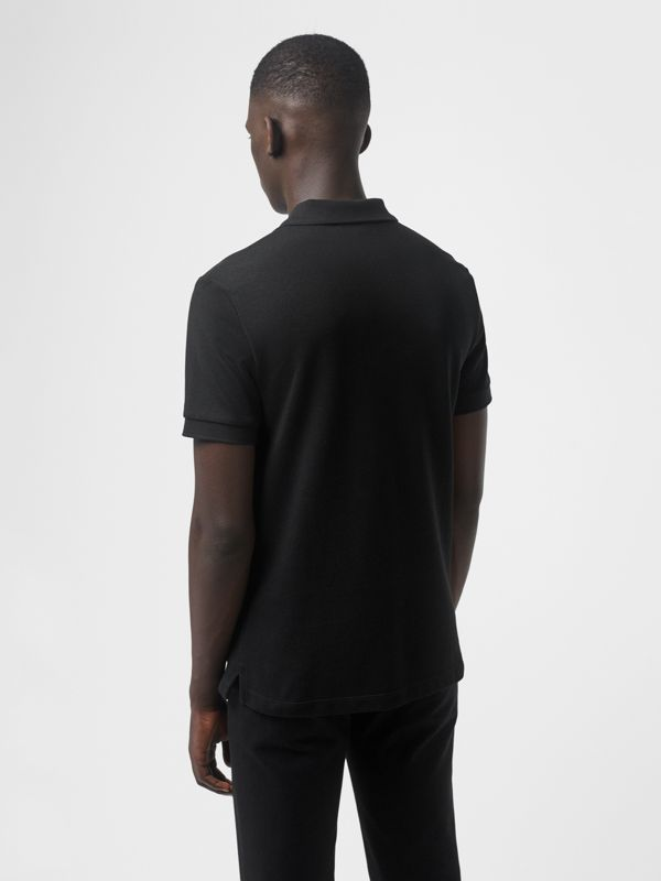 Check Placket Cotton Polo Shirt in Black - Men | Burberry - cell image 2