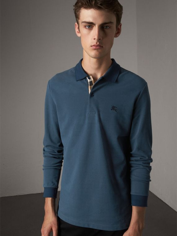 Long-sleeve Cotton Piqué Polo Shirt in Canvas Blue