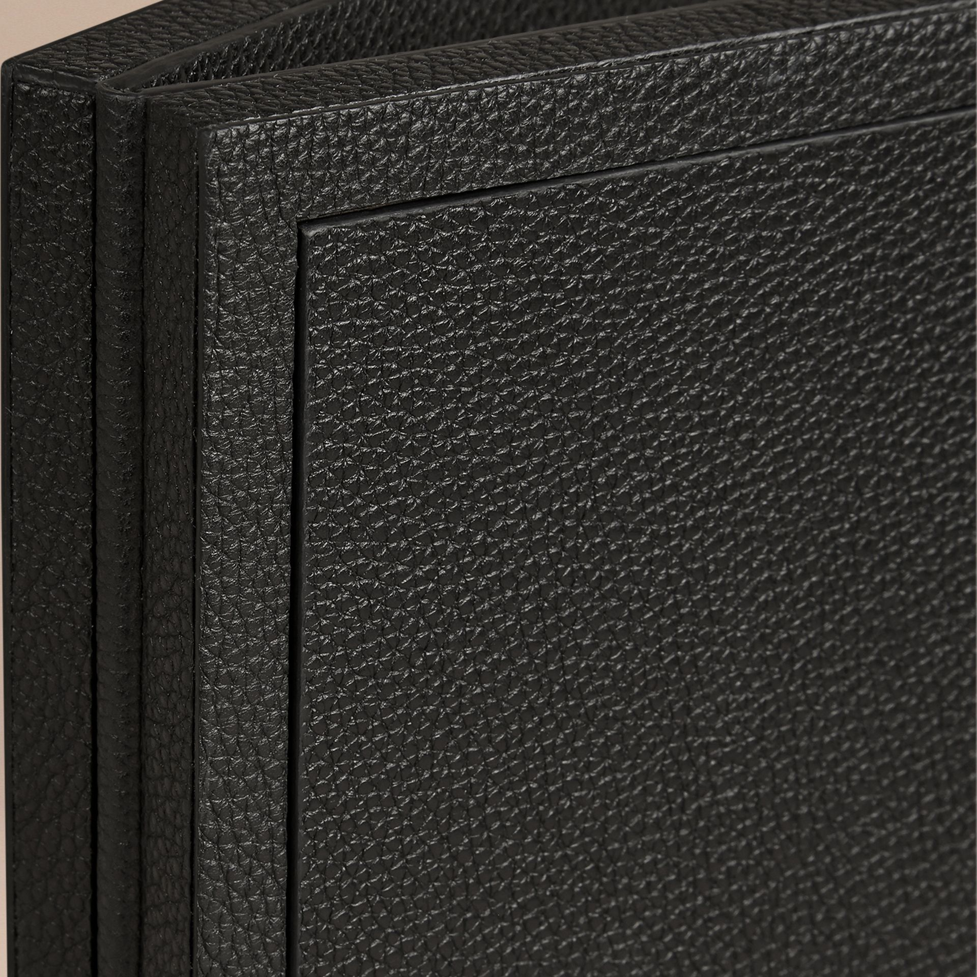 Black Grainy Leather Double Picture Frame Black - gallery image 2