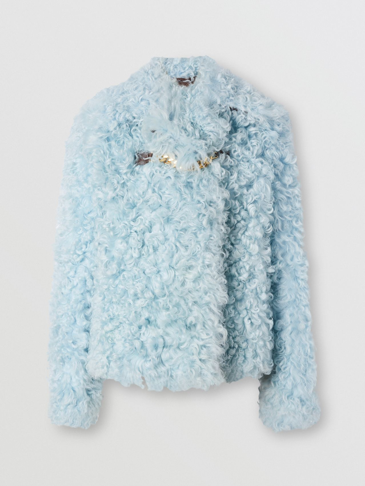Chain Detail Shearling Jacket in Pale Blue