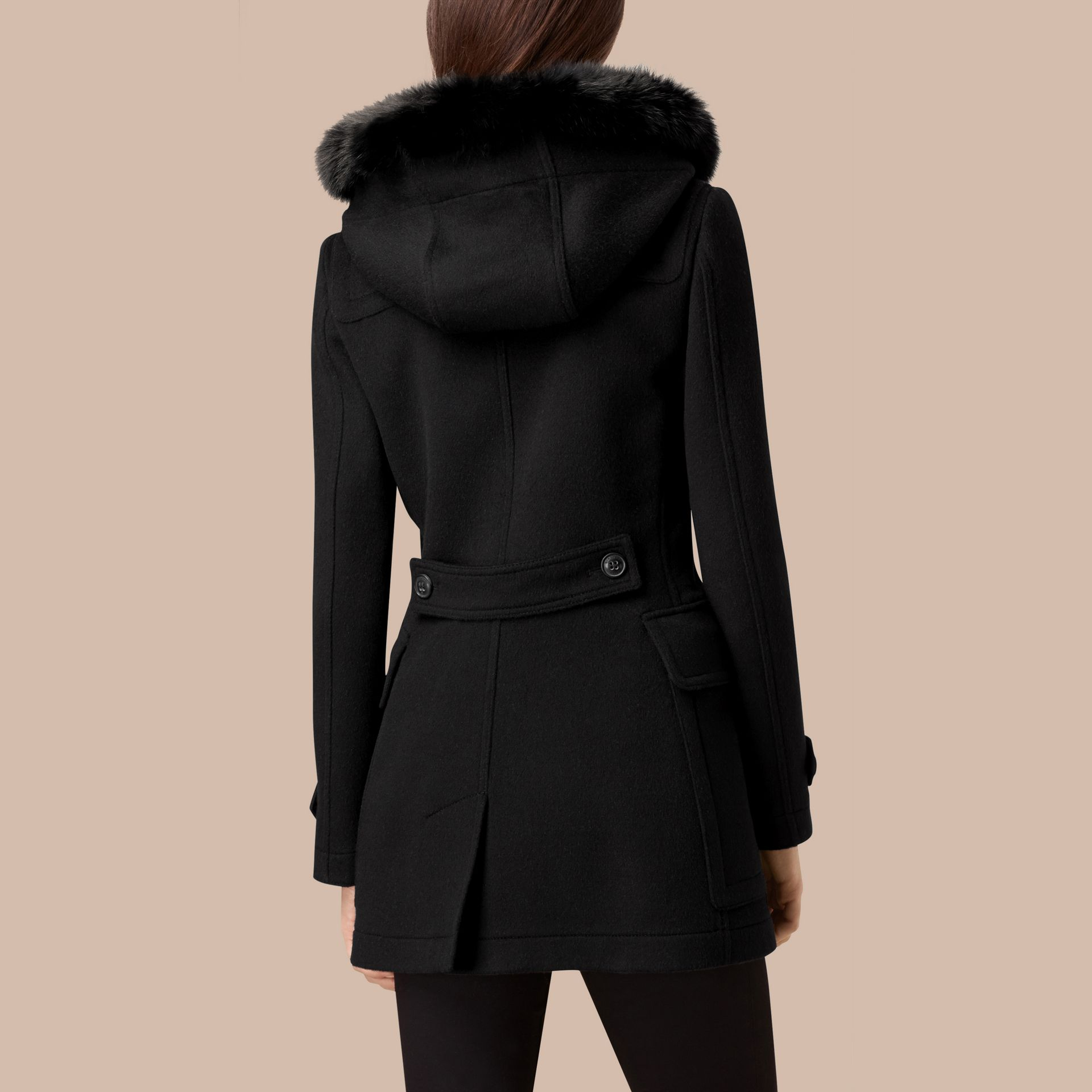 Detachable Fur Trim Wool Duffle Coat Black - gallery image 3