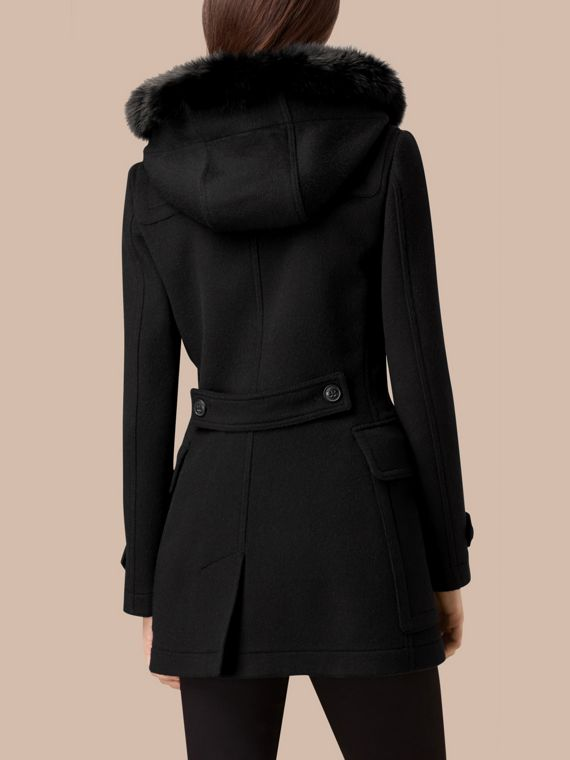 Black Detachable Fur Trim Wool Duffle Coat Black - cell image 2