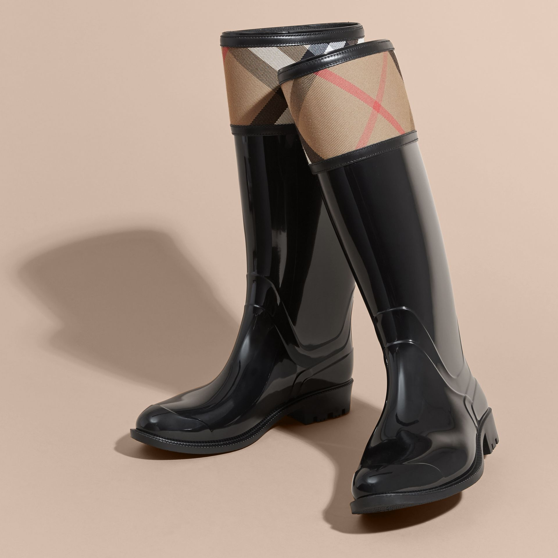 House Check Rain Boots in Black - Women | Burberry Canada - gallery image 3
