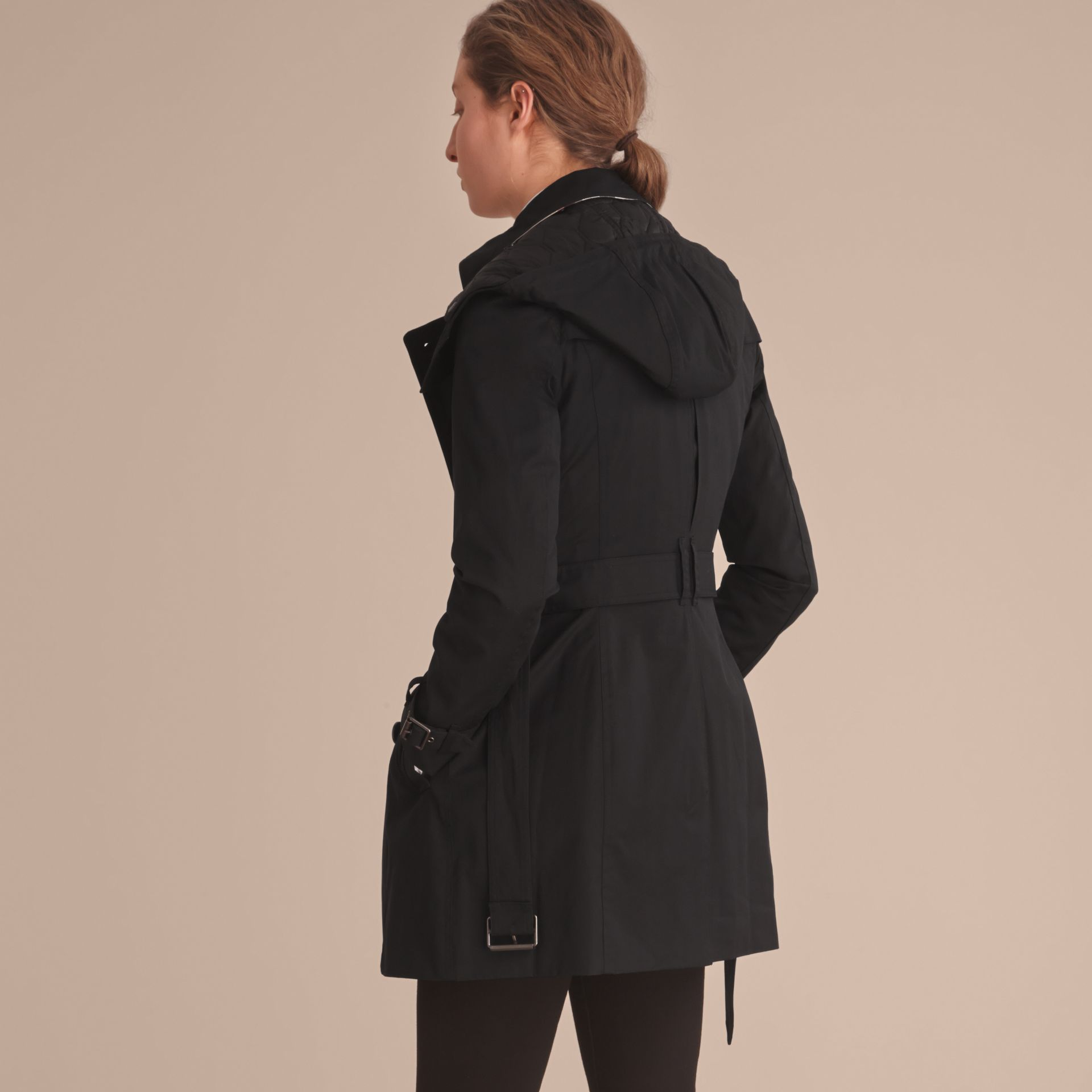 Hooded Trench Coat with Warmer in Black - gallery image 3
